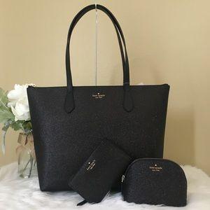 3PCS Kate spade glitter tote wallet & cosmetic bag